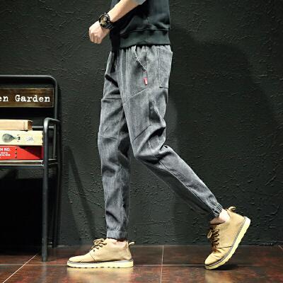 新款哈伦裤男士九分灯芯绒裤子大码K888303A