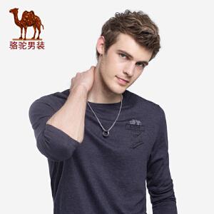 骆驼男装 2018秋季新款男士青年圆领印花休闲弹力保暖长袖T恤男