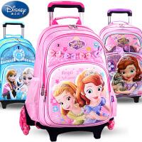 迪士尼儿童拉杆书包冰雪苏菲亚6-12周岁女孩小学生粉公主拖书包