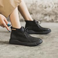 玛菲玛图马丁靴女英伦风2020新款短靴学生复古女鞋女靴平底百搭裸靴子009-48S