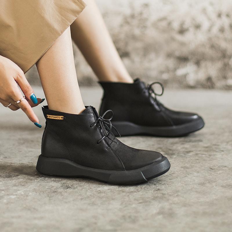 玛菲玛图马丁靴女英伦风2018新款短靴学生复古女鞋女靴平底百搭裸靴子M1981009T48S原创设计女鞋,晒图有红包。