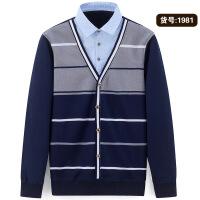 冬季男士保暖毛衣加绒加厚假两件衬衫爸爸长袖格子加绒衬衣棉寸衫