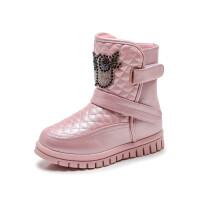 女童雪地靴2018秋冬季新款儿童宝宝公主靴女靴子棉靴防水加绒童鞋 粉
