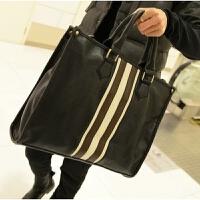 新款男士公文包商务休闲包男包个性手提包潮男单肩包斜跨包包 黑色