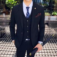 男结婚礼服套装大气 西服男韩版修身西装三件套纯色商务正装新郎结婚礼服