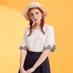 美特斯邦威衬衫女纯色森女文艺喇叭袖衬衣打底衫仙2019夏季装新款