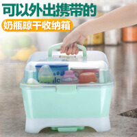 W宝宝奶瓶储存盒干燥架翻盖尘收纳箱婴儿餐具收纳盒奶粉盒奶瓶架O