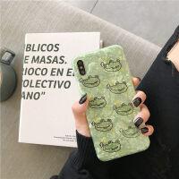 ins卡通小鳄鱼抹茶绿贝壳纹8plus苹果x手机壳XS Max XR个性情侣iPhoneX全包软壳7 6/6s4.7