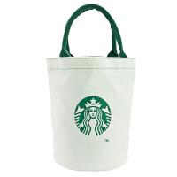 保温装饭盒袋便当包手提袋帆布包圆形带饭学生手拎袋子大号 白色 桶包 拉链+水杯位