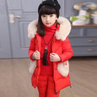中大童女童冬装2018新款套装冬季童装加绒加厚三件套潮羽绒 红色 桃心3件套
