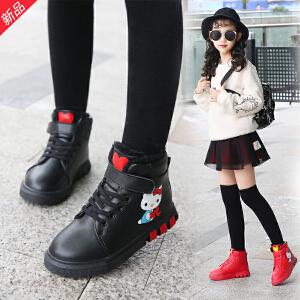女童马丁靴加绒短靴2018秋冬新款雪地棉靴中大童小女孩加绒儿童鞋