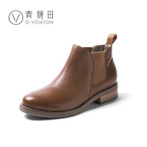 青婉田切尔西短靴女马丁靴女英伦风春季靴子学生真皮切尔西靴女裸靴女