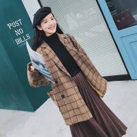 2018新款秋冬韩国英伦风流行西装毛呢外套女短款韩版呢子格子大衣