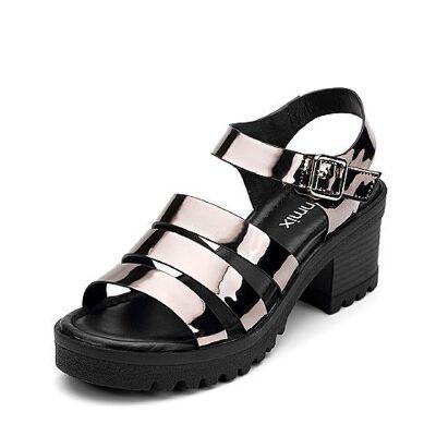 Teenmix/天美意夏专柜同款罗马风多条带优雅粗跟女凉鞋AP551BL7