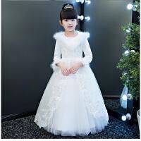 花童礼服公主裙加厚冬季儿童礼服女童钢琴演出服生日晚礼服蓬蓬纱 白色