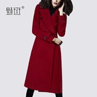 【新年狂欢到手价:819】魅斑时尚潮流红色羊毛呢外套女2019冬季新款中长款修身显瘦呢大衣