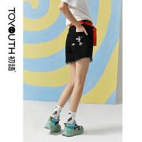 初语夏装新款史努比联名时尚ins印花水洗直筒裤牛仔裤短裤女