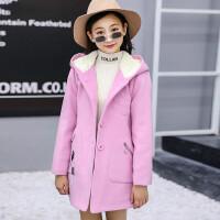女童呢子大衣2018新款韩版秋冬大童儿童中长款女孩洋气毛呢外套潮