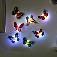 发光七彩蝴蝶小夜灯可粘贴LED装饰墙壁灯 发光冰箱贴 装饰墙贴 随机 小