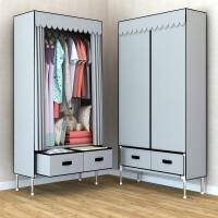 简易衣柜家用布衣柜钢管加粗加固单人组装折叠加厚布艺现代挂衣架