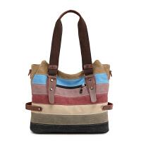 帆布包女包新款韩版手提包单肩包斜挎包简约撞色复古拼接大包包潮