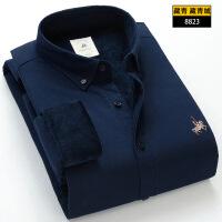 2018新品男士保暖衬衫加绒加厚冬季牛津纺棉长袖修身青年衬衣