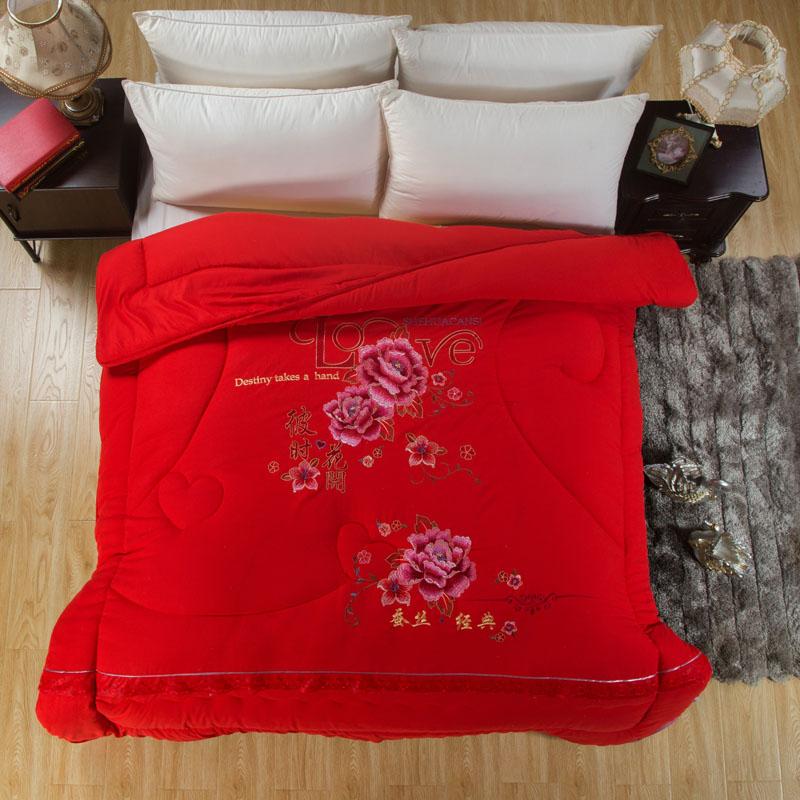 ???全棉冬被大红色婚庆结婚被子喜被 保暖加厚纯棉春秋被芯