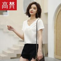 【2件3折 到手价:49元】高梵2019夏季新款女装简约白色纯棉舒适短袖V领T恤女上衣打底衫女