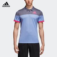 阿迪达斯adidas 运动短袖 羽毛球服休闲男T恤polo衫