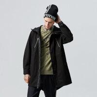 【2件2.5折到手价:112.25】美特斯邦威风衣男装秋冬季新款HYSTYL宽松中长款连帽外套