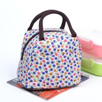 饭盒袋袋子帆布手提包包加厚韩版清新卡通妈咪包手拎带饭的便当包 白色 B小碎花
