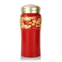 乾唐轩活瓷 鎏金松竹梅随身杯双层 陶瓷保温水杯子商务办公