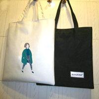 小清新斜挎女包文艺简约手提单肩包环保购物袋帆布包学生中包 龙女白包