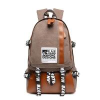 休闲时尚学生书包男士潮流帆布防盗电脑双肩包男日系户外旅行背包