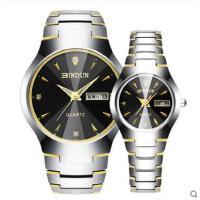 钨钢防水石英表男士手表日历情侣对表商务时尚钢带手表