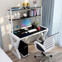 电脑桌简约现代写字桌玻璃桌书桌书架组合家用经济型学习桌台式桌
