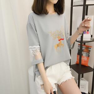 2018年新款韩版夏季宽松短款上衣流苏短袖t恤女学生装打底衫