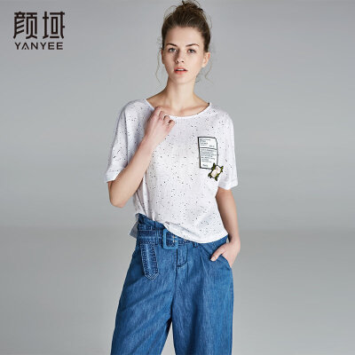 颜域2018新款圆领短袖纯棉T恤宽松时尚经典百搭女装上衣夏季新品