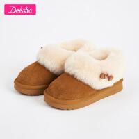 笛莎女童靴子2018冬季新款中大童女孩短靴儿童时尚甜美雪地靴