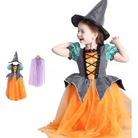 万圣节儿童服装女巫演出服化妆舞会裙子表演服饰女童公主裙礼服