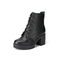 如熙秋冬新款牛皮马丁靴粗跟圆头系带靴子高跟防水台短靴潮