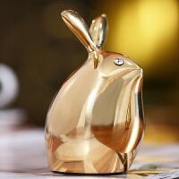 纯铜水晶兔子摆件工艺品可爱创意桌面摆设家居酒柜装饰品生日礼物
