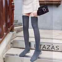 欧美2018新款LIN款方头粗跟连袜靴过膝长靴瘦腿弹力针织袜靴子女SN3711