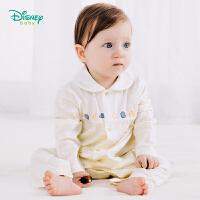 迪士尼Disney童装 宝宝翻领连体衣2019春季新款婴儿衣服男孩条纹爬服休闲外服191L789