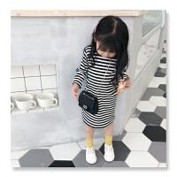 儿童上衣童装2018秋季新款女童宝宝2-3-5-7岁韩版中长款条纹T恤yly