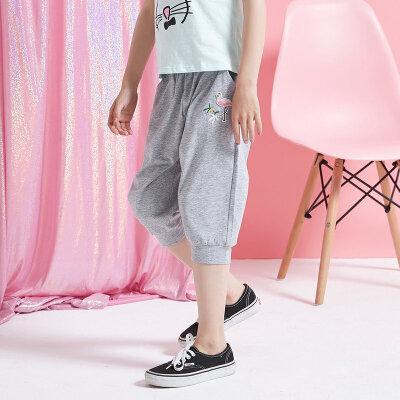 【1件2.5折到手价:23.8】moomoo童装女童短裤新款夏季黑色卡通宽松中大儿童五分裤子棉 美特斯邦威超品日,千款限时1件2.5折,还能叠券!