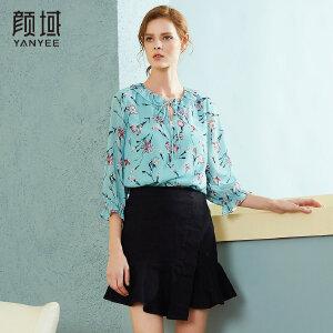 颜域品牌女装2018春季新款欧美印花职业灯笼袖上衣荷叶领衬衫女
