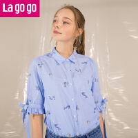 Lagogo2019春夏季新款时尚复古娃娃衫女小清新印花衬衫短袖上衣HACC323C19
