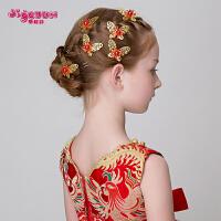 女童金色合金蝴蝶发夹可爱发叉发簪头饰儿童配饰饰品儿童头饰发饰