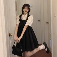 夏季2021新款韩版法式复古泡泡袖短袖上衣+显瘦背心A字裙两件套女